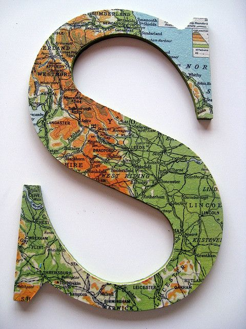 Map decoupaged on a wooden S from Hobby Lobby.by Laura Hartrich