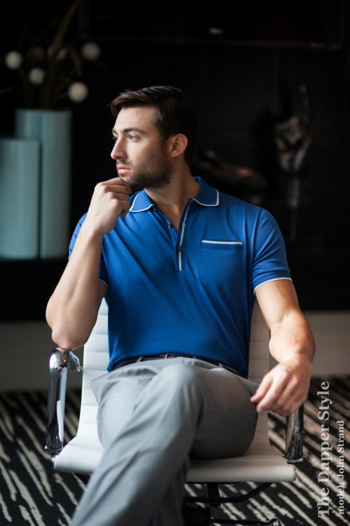 Go Retro with the 60s style like the showMad Men. Tipped means there are small stripes on the collar, by the buttons and maybe on the sleeve. John's style is fromBanana Republic.    OurTipped Offseries is about the small stripes or 'pop of color' that is showing up in men's style. #gq #menswear #fashion