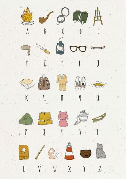 Alphabet sur le thème du film Moonrise Kingdom de Wes Anderson