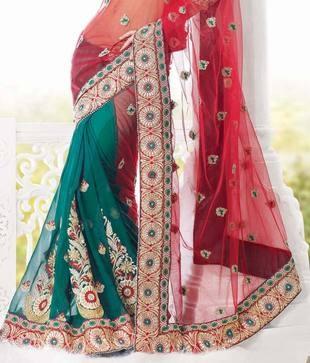 Khazana Red & Green Net Saree   Khazana brings latest collection of Embroidered Silk Sarees ,Designer sarees,Net sarees,Banarasi,Georgette sarees, Brasso sarees,Chiffon sarees, Lehnga sarees, Salwar suits and Kurtis.Khazana is preferred exporter of wide range of apparels and accessories.  http://www.snapdeal.com/product/khazana-red-green-net-saree/250587?utm_source=Fbpost_campaign=Delhi_content=199509_medium=190912_term=Prod