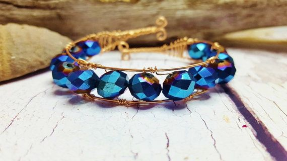 Check out Rose Gold Bridal Jewelry ~ 50th Anniversary, Birthday Gift For Wife ~ Rose Gold Wire Cuff ~ Titanium Blue Crystals & 14k Rose Gold Wire on blueworldtreasures