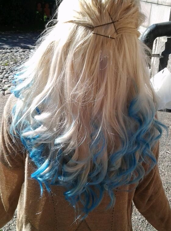 blue hair dying, styles   Blonde with Blue Dip Dye   Hair Colors Ideas