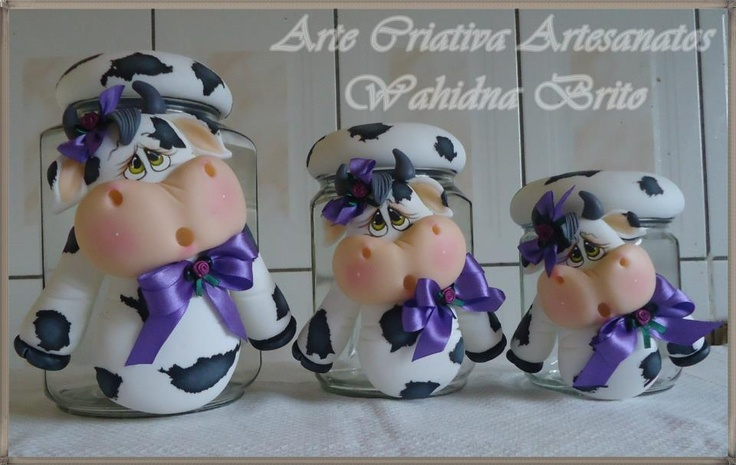 Fimo Cows to Cover Jars