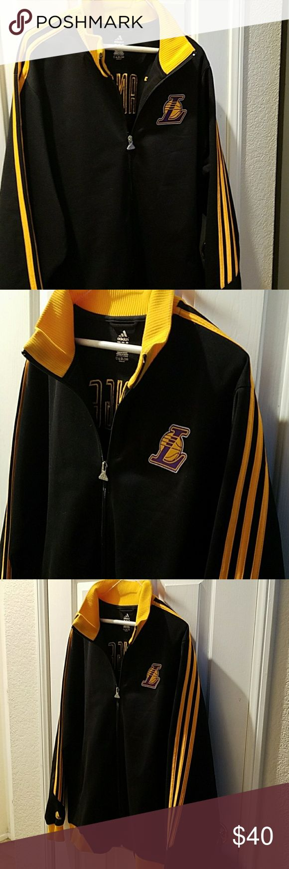 Men's Lakers Jacket Black with gold strips and Los Angeles on back Adidas Jackets & Coats Performance Jackets