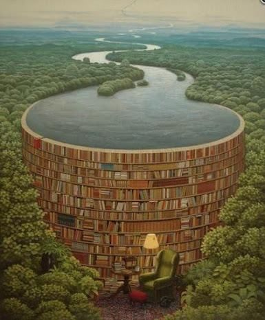"""Behind every stack of books there is a flood of knowledge.""  LOVE <3 this image!!!"