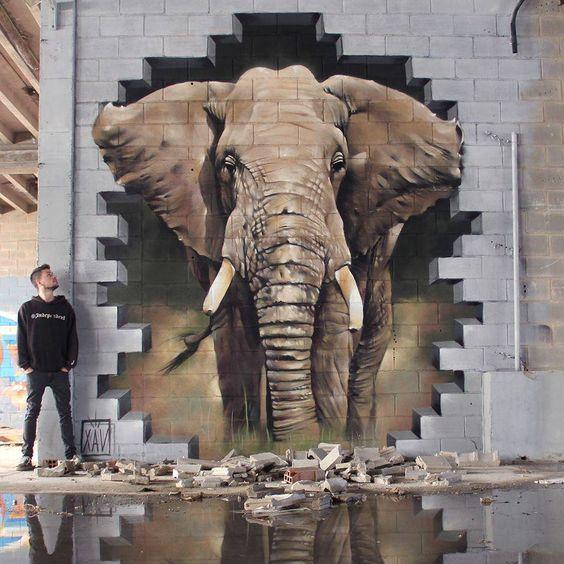 street art éléphant (Top Shop)