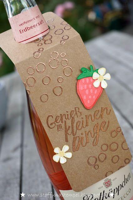Stoff und Stempel / Flaschenanhänger / Fresh Fruits / Playful Backgrounds / im Herzen / Stampin'Up!