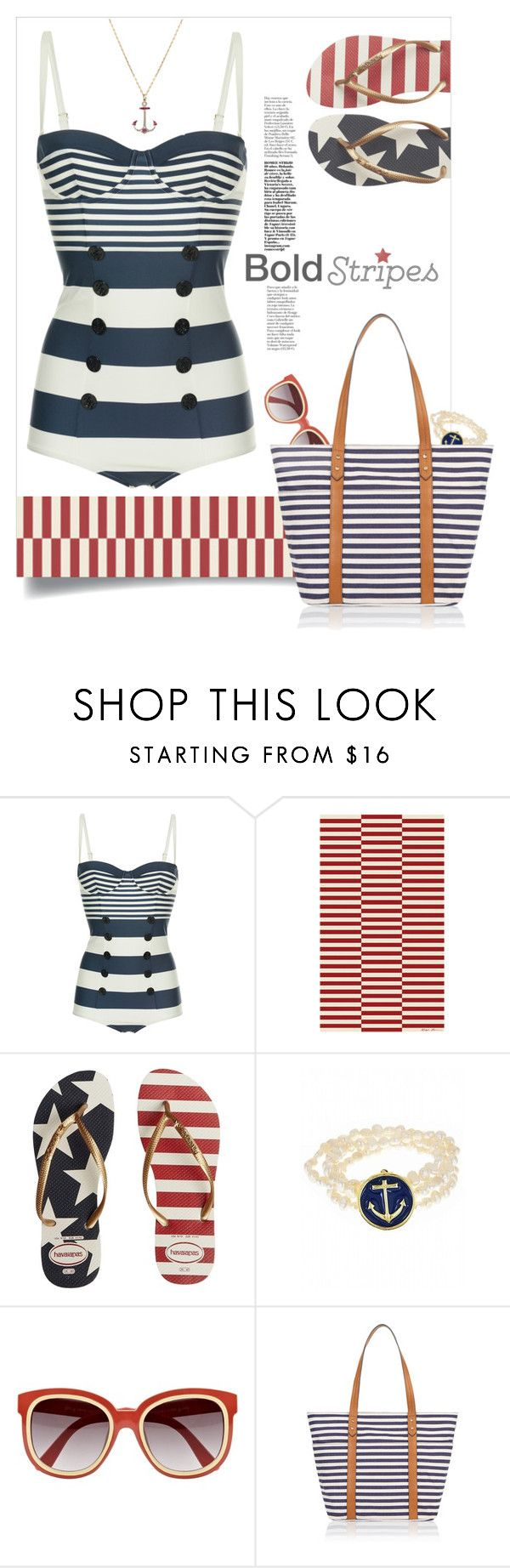 """Nautical."" by s-elle ❤ liked on Polyvore featuring Dolce&Gabbana, Ralph Lauren Home, Havaianas, Fornash, River Island, Accessorize and BoldStripes"