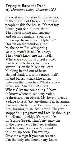 """How it Will Happen, When"" by Dorianne Laux (repost)"