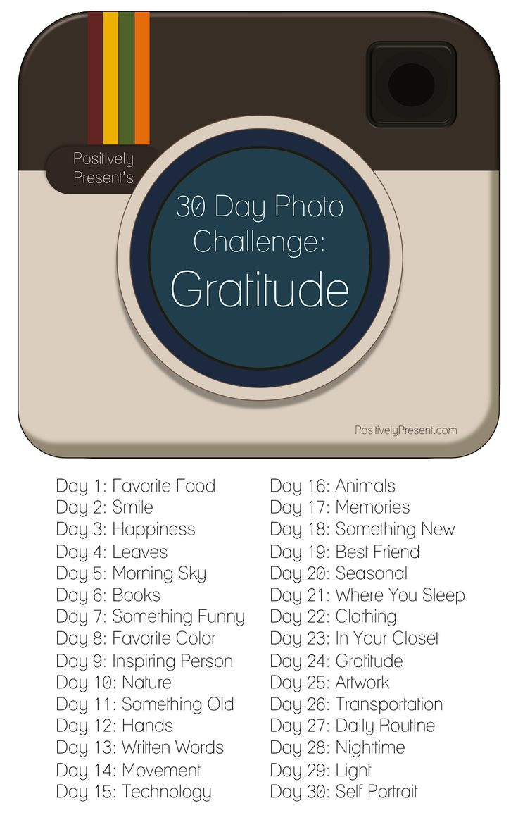 30 Day Gratitude Photo Challenge. This would be fun to do with the kids all through November...or any time we may need a reminder. :)