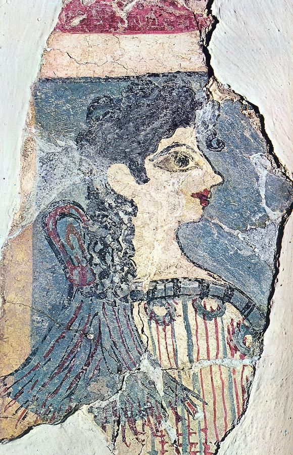 """✮ Image of the celebrated Minoan fresco named """"Parisiene"""" by the archaeologists. More than 3500 years ago used to decorate the walls of the Palace at Knossos. It was detached from the wall section of the Libation Offerings, and now is on display at Herakleion Museum"""