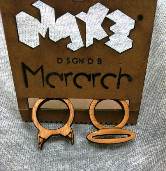Angel & Devil lasercut rings by mararch on Etsy, $16.00