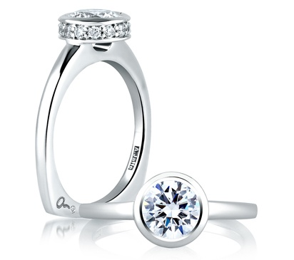 THE BEST bezel ring on the market! Comes with a round modern shank or the flat french shown here....perfect remount. I have this at Hudson too.  A. Jaffe Halo Round Bezel Set engagement ring. For when I'm ready to get wifed up.