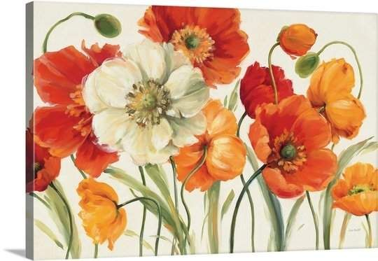 Great Big Canvas 'Poppies Melody I' by Lisa Audit Painting Print – painel com flores