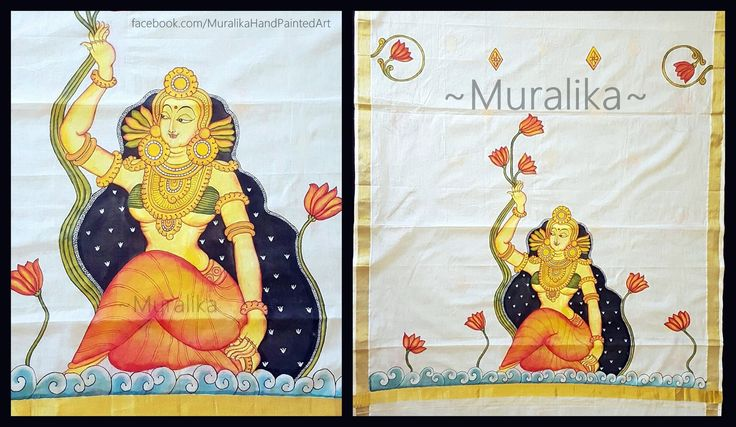 Hand painted dupatta with Kerala Mural Style painting