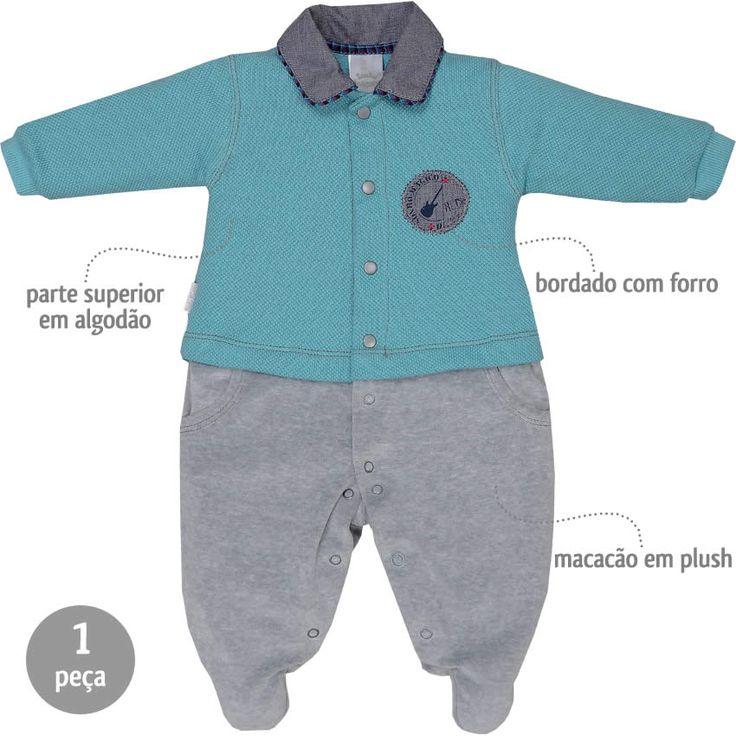 Macacão Bebê Menino em Plush com Gola Pólo Azul - Sonho Mágico :: 764 Kids | Roupa bebê e infantil