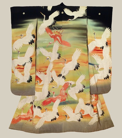 """Taisho Furisode, Taisho (1912-1926). A silk furisode featuring latge yuzen-dyed cranes. 49"""" from sleeve-end to sleeve-end x 60"""" height. The Kimono Gallery"""