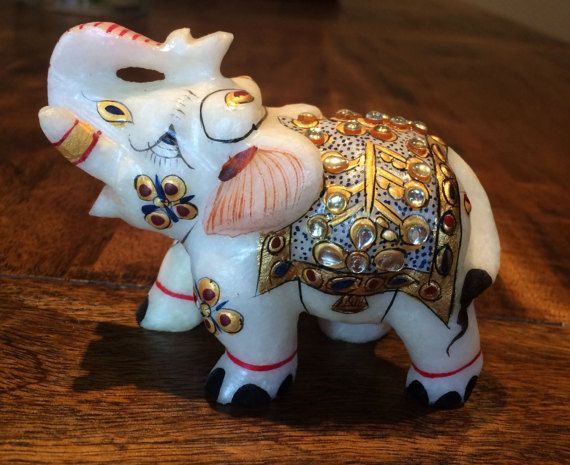White Marble Elephant Figurine Hand-Carved Hand-painted by Sajavat