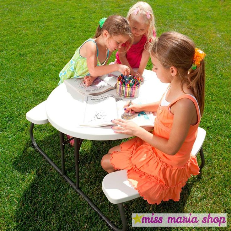 Kids Folding Table Oval Garden Picnic Outdoor Easy Clean