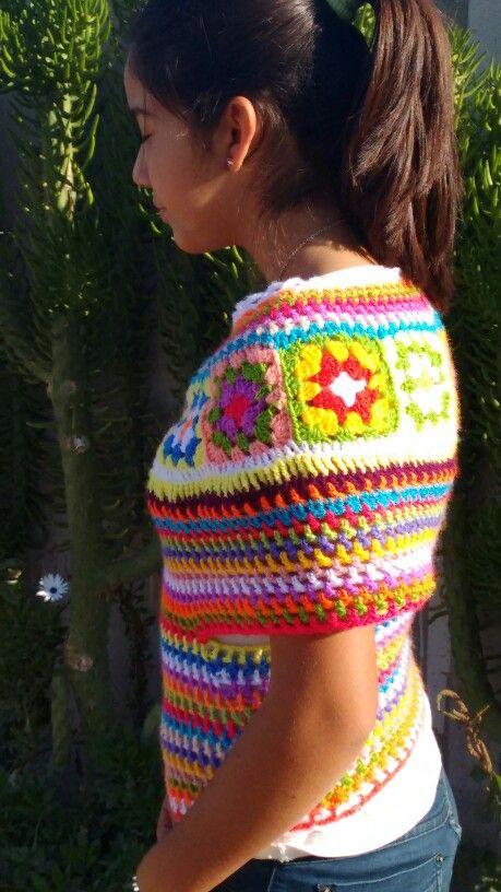 Capa colores a crochet.