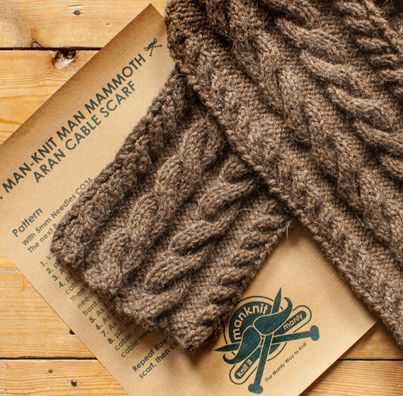 ManKnit Man Mammoth Cable Scarf Digital Download Pattern