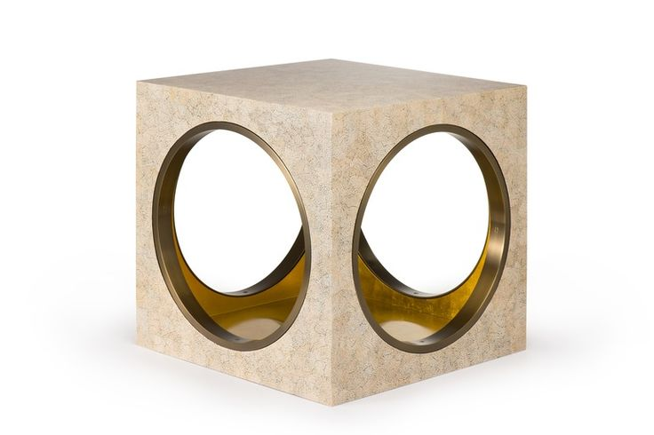 Circles & Squares Side Table - Eggshell Lacquer - Contemporary Side Tables - Dering Hall