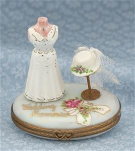 Limoges Wedding Dress and Hat Box.