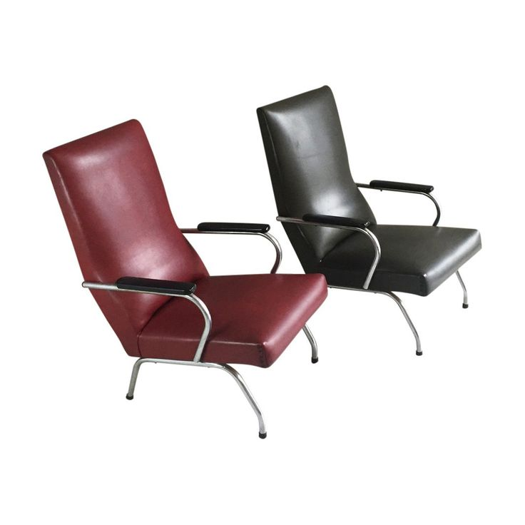 Pair of Belgian Mid century  1970's vinyl armchairs in red and green