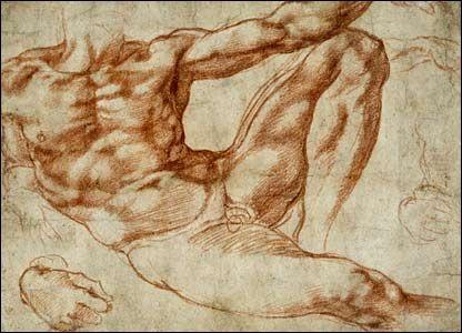 Michelangelo, chalk, study for Adam, artmodel.wordpress.com