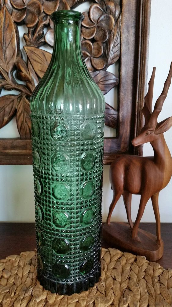 Details About Retro 70 S Green Glass Tall Art Bottle Heavily Embossed
