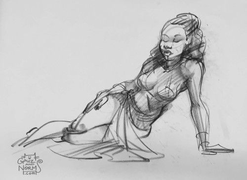 Figure Drawing 02/17/15 I need to practice drawing models with drapery and clothes a bit more. The bunny was drawn between poses. -n