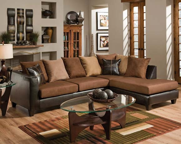 The Lanzo Sectional Will Give Any Living Room An Upscale Designer Feel This Features Faux Leather Sides Soft Upholstered Seating
