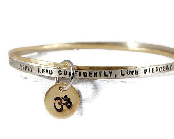 Personalized Mantra Om Bangle Bracelet Set With Dangle Disc Charm.