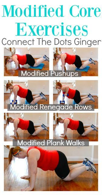 3 Modified Core Exercises. Perfect for beginners, or coming back after having a baby or injury. Click the link for video and description on how to do! At home exercises | workouts for women