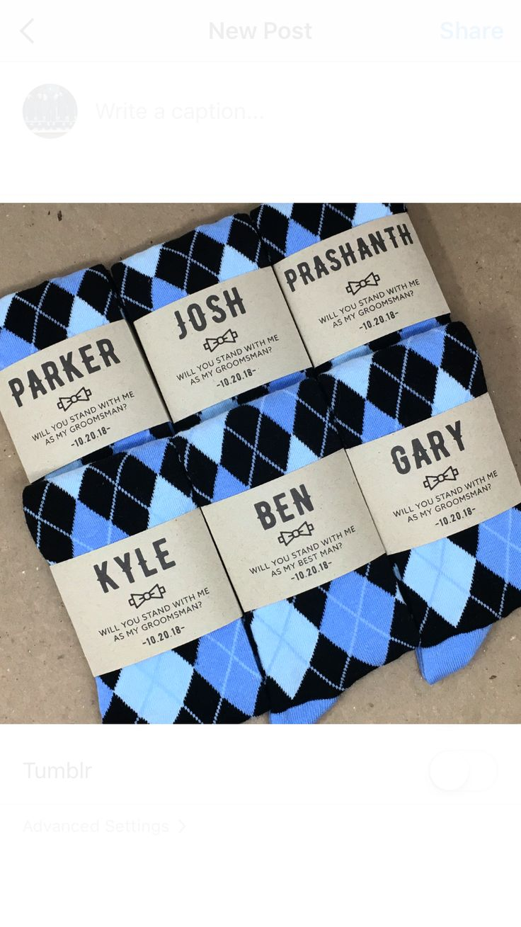 Groomsmen Proposal Idea. Custom Labels with Blue and Black Argyle Socks makes the perfect gift.