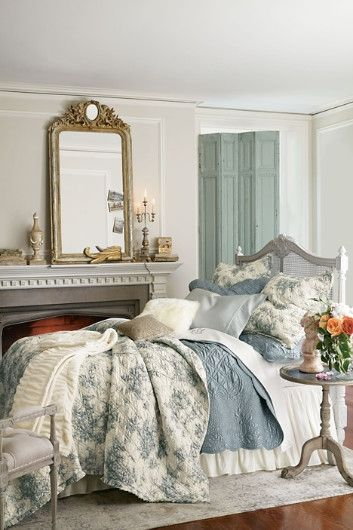 Beautiful bedroom - French inspired - romantic - blue, white, cream - wood floors