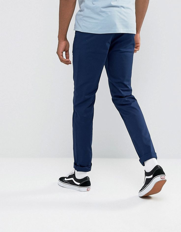 ASOS TALL Slim Chinos In Dark Navy - Blue