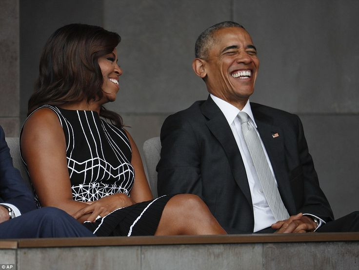 Earlier Obama and Michelle shared a sweet laugh together as they waited for him to take the stage