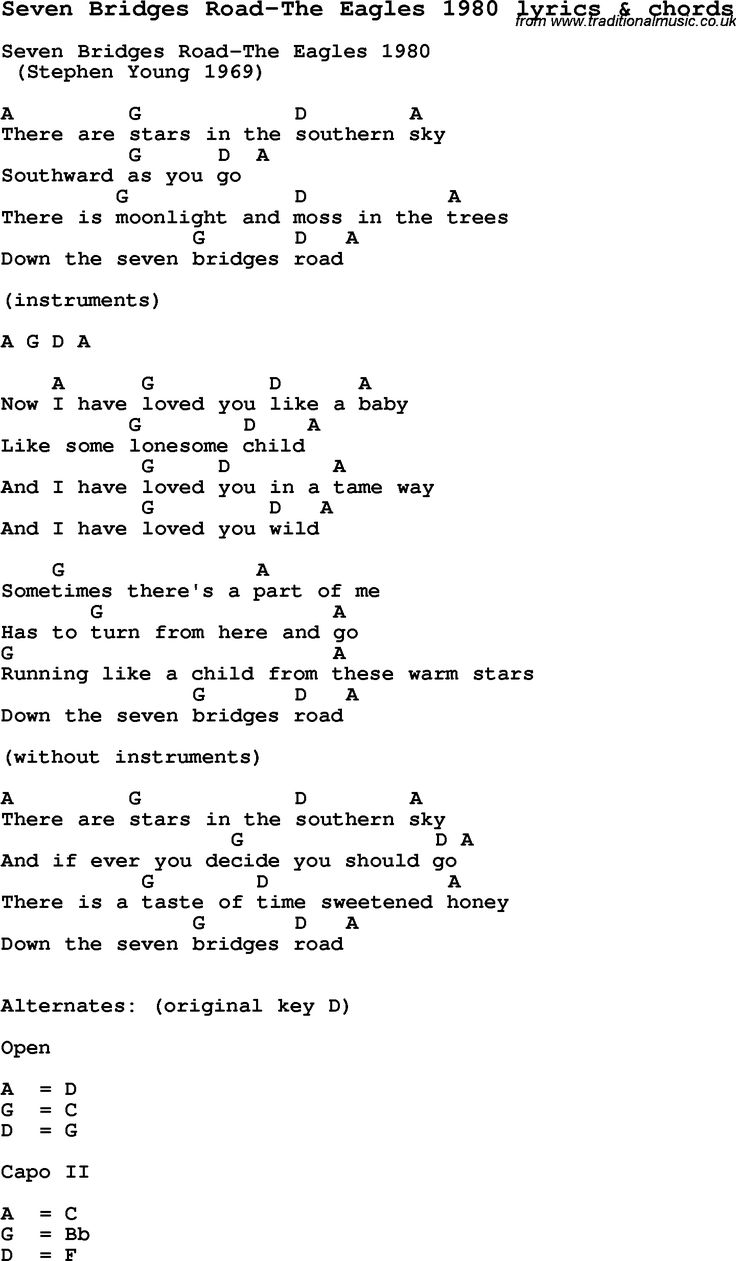 744 best music images on pinterest music guitar chord chart and love song seven bridges road the eagles 1980 with chords and lyrics for ukulele guitar banjo and other instruments hexwebz Choice Image