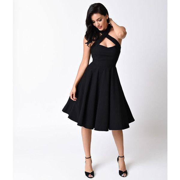 Unique Vintage 1950s Style Black Rita Halter Flare Dress ($78) ❤ liked on Polyvore featuring dresses, black, vintage dresses, halter top, vintage halter tops, flared dresses and vintage rockabilly dresses
