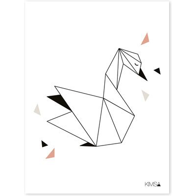 Affiche Origami Cygne - Lilipinso and Co