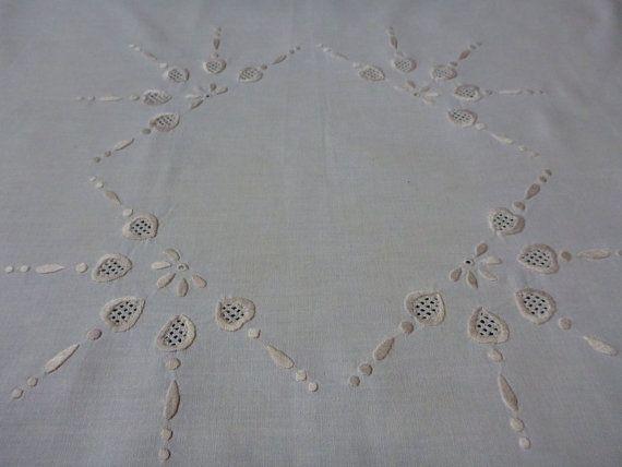 Vintage bavlna béžová obrus výšivky obrus