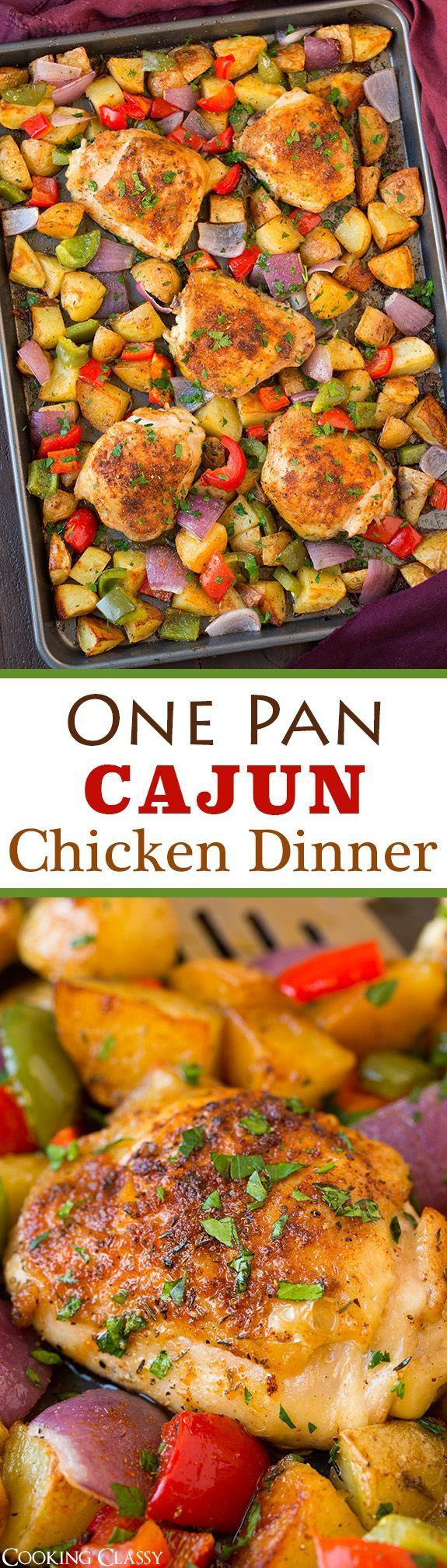 One Pan Cajun Chicken Dinner - LOVED the flavors in this one pan meal!! So easy to make and clean up is a breeze!