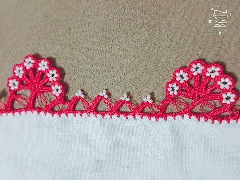How to integrate small pearls into a 'tığ oyası' (Turkish crochet lace) - YouTube