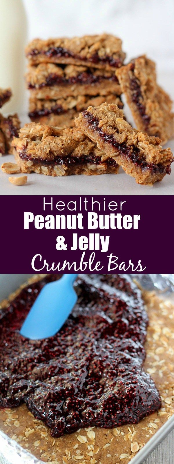 Healthier Peanut Butter and Jelly Crumble Bars - The classic flavors of peanut butter and jelly combine in these healthier crumble bars. A whole-grain brown sugar oat crust, Welch's Chia Concord Grape Fruit Spread and a sweet and salty peanut crumble. Enjoy for breakfast, snack or dessert. #Welchs #WelchsChia ad @walmart
