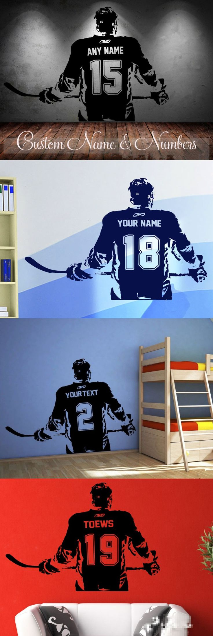 Hockey player Wall art Decal sticker Choose Name number personalized home decor Wall Stickers For Kids Room Vinilos Paredes D645 $11.55