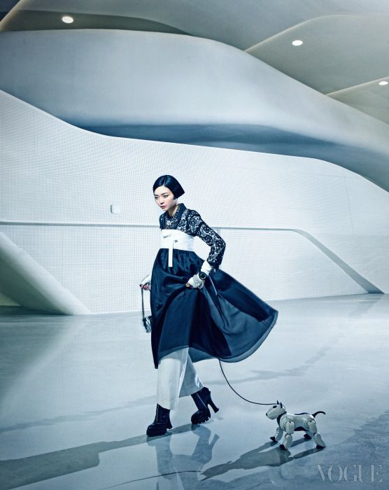 Vogue Korea - Jan, 2014  Blk Laced Jacket Top, Wht Wide Legged Pants, Purse, Fingerless Leathered Gloves, Crystal Necklace - Chanel Blk Hanbok Skirt - 김혜순 한복 (Kim Hye Soon) Zip Up Boots - Miu Miu Digital Watch - Adidas