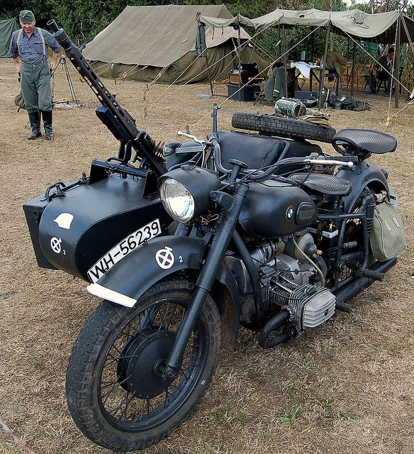 BMW  MOTORCYCLE. WEHRMACHT REGISTRATION NUMBER WH-56239. by meddie / aka Gramps, via Flickr