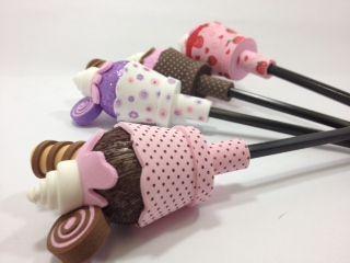Lapis Decorado Ponteira Cupcake eva c/ 1 unid.- Estampa Sortida | SP Deccor