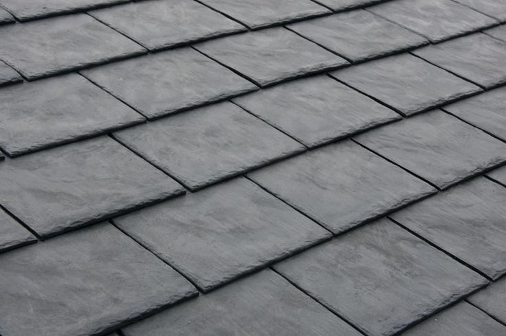 Lightweight, recycled rubber roofing that recreates the look of slate shingles.